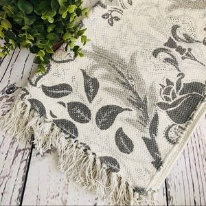 Oxford Collection Metallic Foil Silver Throw Rug